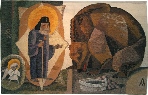 Tapestry of Seraphim of Sarov with a bear