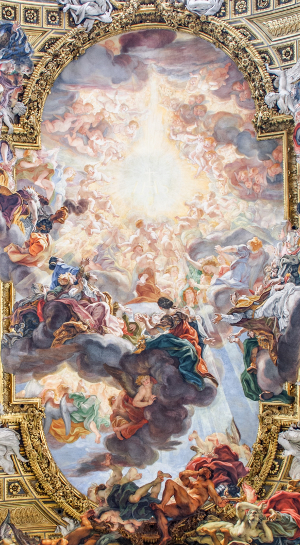 Detail of the Worship of the Holy Name of Jesus, ceiling fresco by Gaulli, 1679