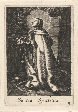 Card depicting Amma Syncletica of Alexandria, from the Rijksmuseum, date unknown