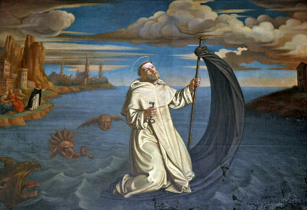 Painting of Raymond of Peñafort sailing on his cloak, by Dolabella, 1627