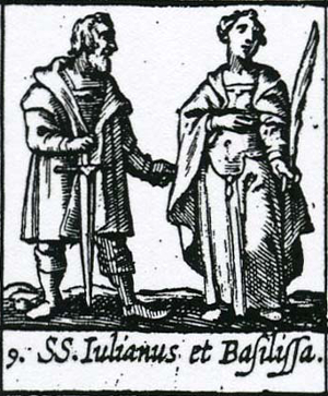Woodcut of Julian and Basilissa (Vasilissa), Ribadineira, 1649