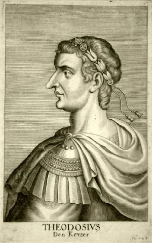 Litho or engraving of Theodosius the Great by Cornelius Hazart, 1667