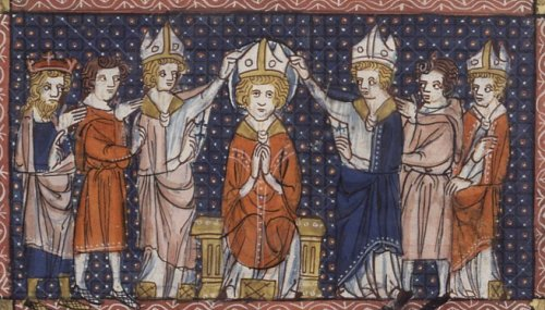 Picture of the Ordination of Hilary of Poitiers from a 14th century book of saints