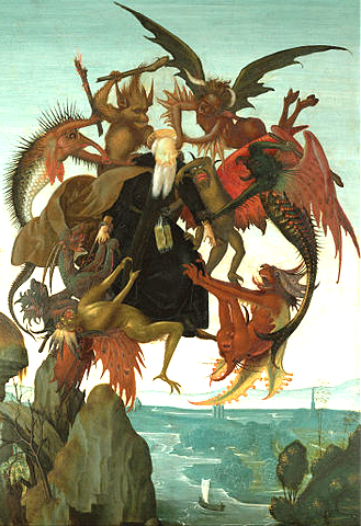 Painting of the Torment of St. Anthony by Michaelangelo ca. 1488