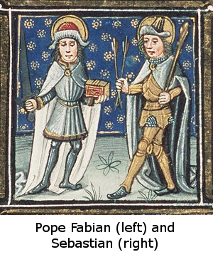 Manuscript illumination of Pope Fabian and Sebastian, circa 1490