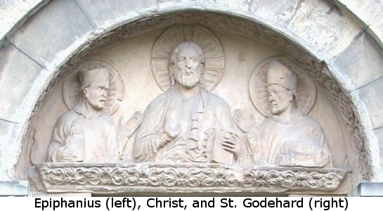 High relief of Epiphanius, Christ, and St. Godehard from the Basilica of St. Godehard, Hildesheim, Germany