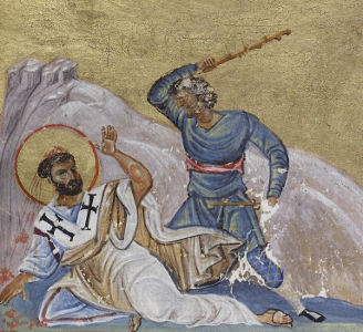 Manuscript illumination of the martyrdom of Timothy, 11th century