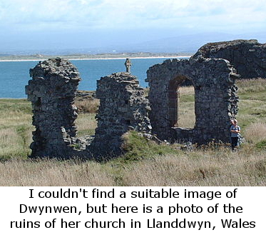 Photo of the ruins of the Church of St. Dwynwen in Llanddwyn, Wales
