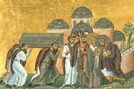 Icon depicting the Translation of the Relics of John Chrysostom, iconographer unknown, 10th century