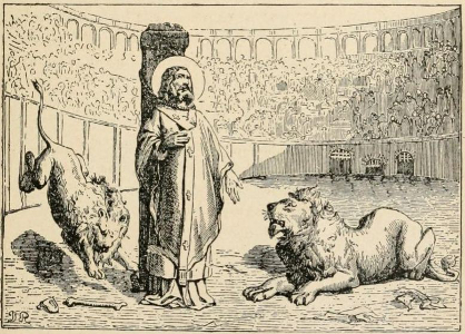 Drawing of Ignatius of Antioch and two lions, artist unknown, from the Little Pictorial Lives of the Saints (book), 1874