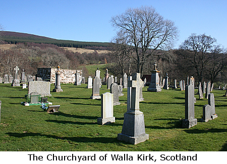 Photograph of the Churchyard of Walla Kirk, Scotland, photo by Anne Burgess, 2009