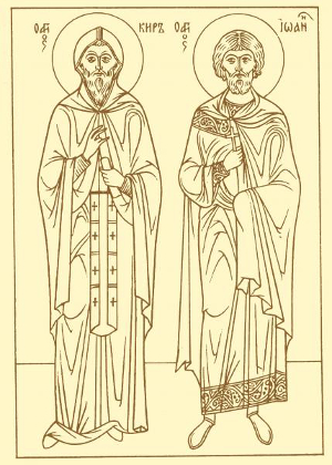 Line drawing icon of John and Cyrus, artist and date unknown