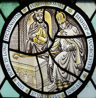 Painted glass image of Wulfstan of Worcester, from Holy Trinity church, Long Itchington, UK, date unknown
