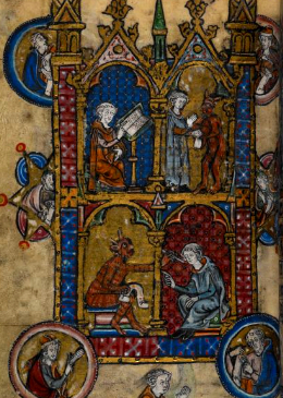 Illumination of Theophilus the Penitent from the Maastricht Book of Hours, circa 1300