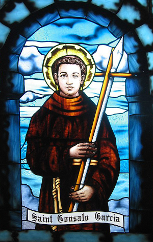 Stained glass window of Gonsalo Garcia, from the St. Patrick's Cathedral, Pune, India