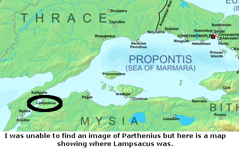 Map showing location of Lampsacus (at the western extremity of the Sea of Marmara)